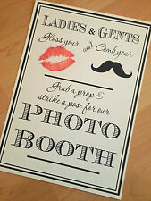 Vintage Rustic Retro Photo Booth Sign Weddings Party Birthday Grab a Prop