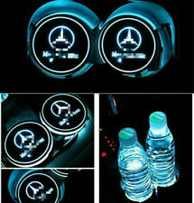 2x Blue USB LED Car Cup Holder Lights Interior Atmosphere Decor Lamps for Benz