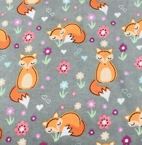 Fox Trot Fabric ~ Flannelette Sold By 1/2 Meter 48cm x 110cm ~ Kids Girls ~ BN