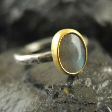 Handmade Hammered 24K Gold Over 925K Silver Two Tone Natural Labradorite Ring