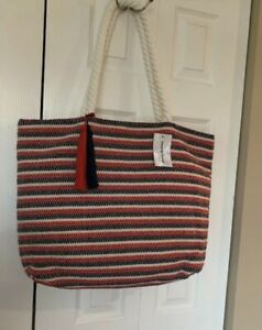 Tommy Bahama ~ Extra-Large Woven Cotton Bucket/Tote Bag Beach bag NWT