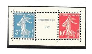 FRANCE 1927 Strasbourg Expo pair+label very fine MINT never hinged SG 454 & 455