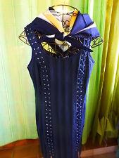T 44   bleue marine ,boutique===INFINITIF robe a bretelles +foulard offert