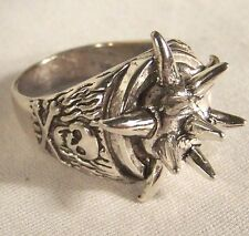 CIRCLE OF SPIKES BIKER RING BR20 HEAVY silver SPIKED novelty fashion jewelry men