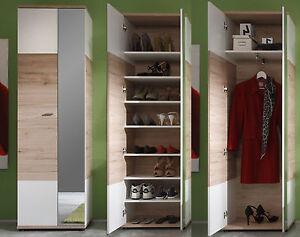 Flur Garderobe Schrank und großer Schuhschrank Spiegel Eiche weiß Diele Campus