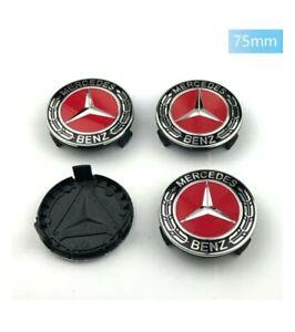 LOT 4 Caches Moyeu Emblème Mercedes Logo Jantes Centre Roue ROUGE RED BLACK 75mm