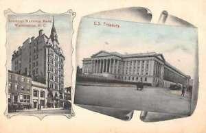Washington DC American National Bank and Treasury Vintage Postcard AA43458