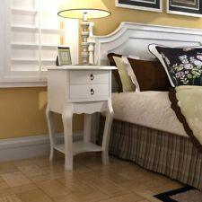 vidaXL Mesita de Noche 2 Cajones Madera Blanca Mesa Auxiliar Mueble Moderno