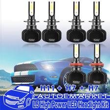 6x COB LED H7+H7+H11 High+Low Beam Headlight+Fog Light Bulb Combo 1200W Replace