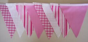 Candy Floss Stripe Gingham & Plain Pink Fabric Bunting Party Wedding 4mt or more