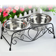 Double Dog Pet Bowls Dish Stainless Steel Stand Feeder Cat Food Water Iron Bowl