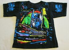 Vintage 1994 Batman Forever Youth Tee Shirt 5-6 Neon Batmobile Preowned DC Comic