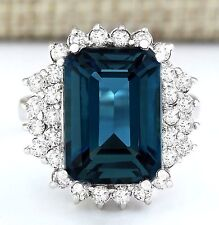 11.55CT NATURAL LONDON BLUE TOPAZ AND DIAMOND RING IN14K SOLID WHITE GOLD