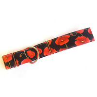 Martingale Dog Collar RED POPPY FLORAL Greyhound Whippet Lurcher Dog Lead