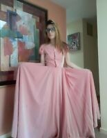 1940's Pastel Pink Taffeta Bridesmaid's Gown w/ Pearl Buttons (XS/S)