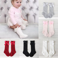 Cute Kid Baby Bowknot Cotton Long Socks Warm Striped Princess Knee High Stocking