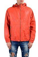 "Hugo Boss ""Carbello"" Men's 100% Leather Orange Hooded Full Zip Jacket Size S M L"