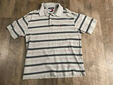 Tommy Hilfiger Mens Polo Casual Shirt Size XL White Grey Blue Red  Stripes