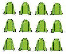 12 x Green Drawstring School Tuition Backpack Kids Unisex Swim Sports Gym Bag