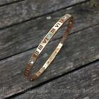 Bracelet Jonc chiffre romain 4mm plaqué argent ou or (cristaux brillant)