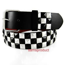 Pyramid Studded Snap On Leather Belt M 32-36  Black Silver