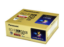 10 Panasonic Bluray Disc 50GB BD-R DL 4x Inkjet Printable Factory Sealed Discs