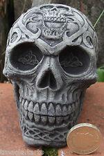 Small Decorated Skull - Stone Garden Ornament - Hand Cast - 9x7x9 cms 689 grams