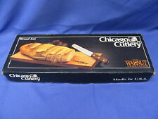 "NOS Vintage Chicago Cutlery Bread Knife Set 2 Piece 7"" Walnut Tradition Serrated"