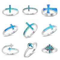 NEW! DESIGNS STERLING SILVER- OPAL CROSSES RINGS SIZES 4-12