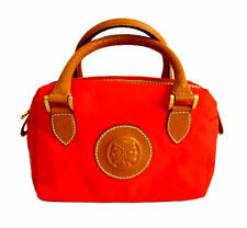 Fendi Small Tan Leather & Red Nylon Satchel / Handbag Purse