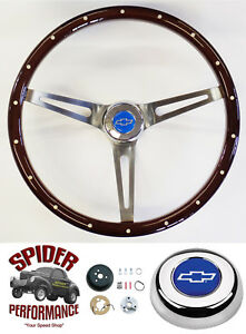 "1958-1963 Impala Bel Air steering wheel BLUE BOWTIE 15"" MAHOGANY MUSCLE CAR"