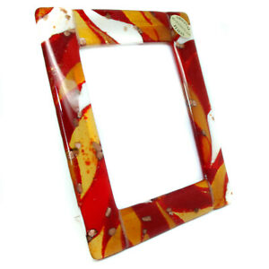 Murano Glass Photo Frame Red Orange White From Venice Unique Item 15cm x 13cm