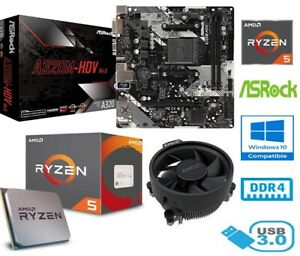 AMD RYZEN 5 2600 BUNDLE - 6 CORE - ASROCK A320M-HDV MOTHERBOARD - WITH COOLER