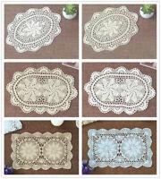 Handmade Crochet Cotton Placemat Oval Lace Doilies Table Place Mat Coasters