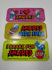 Set of 3 smurfs bike license plates post 1983