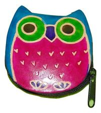 Wise Owl Themed Leather Coin Purse Nwot Blue Violet