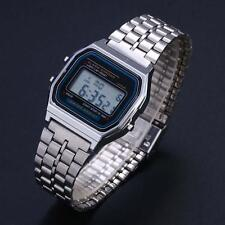 Classic Men Women LED Digital Stainless Steel Stopwatch Wrist Watch Silve New TR
