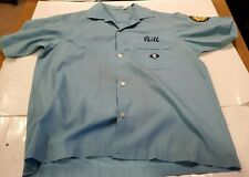 Vtg Permanent press Embroidered Bowling Shirt M Bill Blue Meat Market. Patch