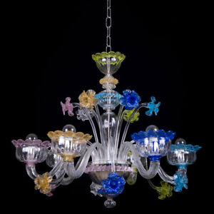 Muranese chandelier in Murano glass 6 lights crystal and multicolor flowers