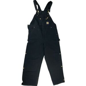 Carhartt Insulated Black Bibs Overall Double Knee Mens 40 x 30 Quilt Lined R41