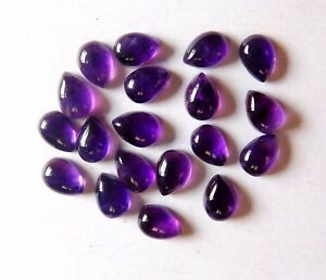 19.00 Cts 25 Pieces Natural Amethyst Pear Cab Lot Loose Gemstone 7 X 5 MM H2725