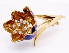 Diamond Blue Enamel 18KY Flower Pin/Brooch (Retail Price $9,800)