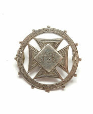 Antico Vittoriano Birmingham 1889 925 Argento Sterling Spilla Croce di Malta 6.5g