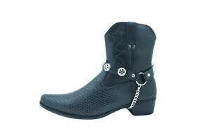 Biker Men Western Women Fashion Boot Silver Chain Pair NBlack Straps Texas Star