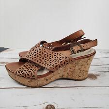 Nicole Cork Wedge Platform Sandals Leather Laser Cut Tan 7 M shoes ankle strap