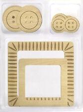 Wood Knots (2) NATURAL WOOD FRAMES & (8) NATURAL WOOD BUTTONS scrapbooking