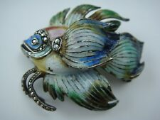 ANTIQUE STERLING SILVER MULTI COLOR ENAMEL MARCASITE GOLD FISH PIN BROOCH