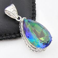 Amazing HUGE Rainbow Fire Mystical Topaz Teardrop Gems Silver Necklace Pendants