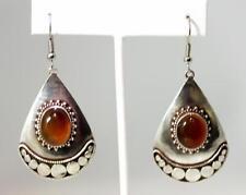 """Beautiful Sterling Silver Carnelian Cabochon Teardrop Dangle Earrings 2.5"""" –9876"""