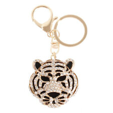New Tiger Head Forward Charm Pendant Crystal Purse Bag Keyring Key Chain Gift